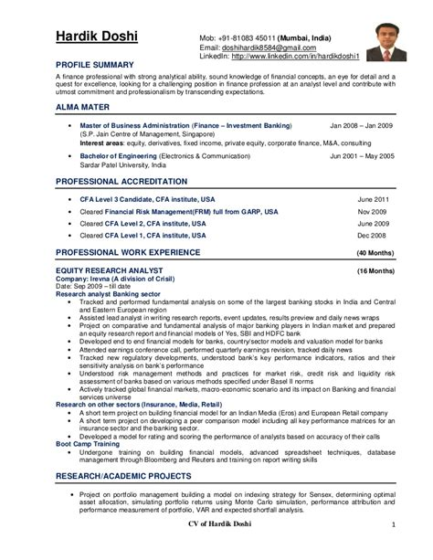 equity research resume sle equity research analyst resume krida info