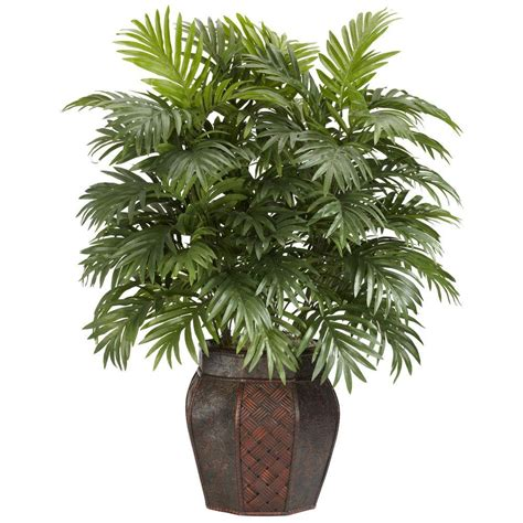 nearly 38 in h green areca palm with vase silk