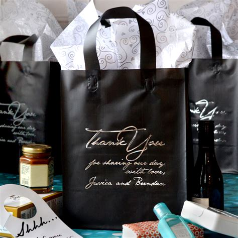 black wedding gift bags wedding thank you bags personalized 8 x 10 frosted gift bags