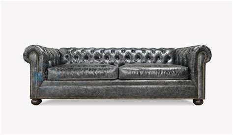 Gray Chesterfield Sofa by Vintage Finish Top Grain Leather Grey Chesterfield Sofa