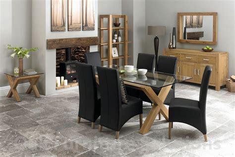 lyon oak glass dining table 6 black wing back faux