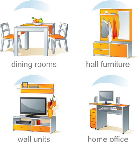 Design Elements Furniture | set of kitchen furniture design elements vector free