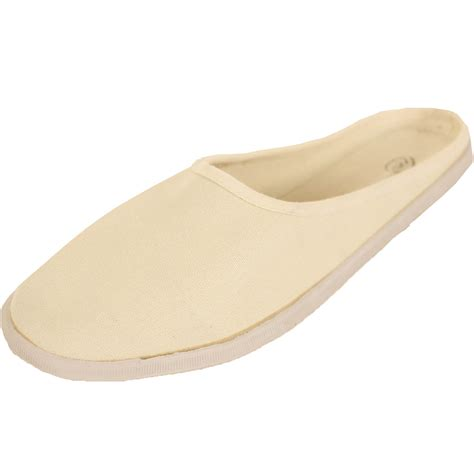 canvas mule slip on shoes flats slides open back