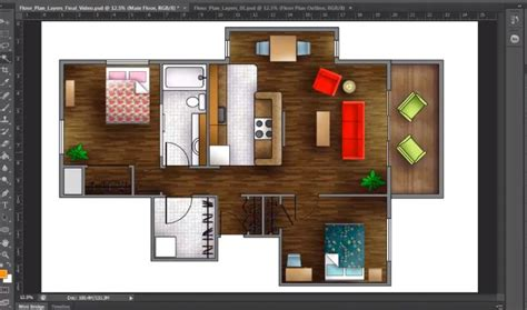 Floor Plan Apartment Design by How To Render A Floor Plan Created In Autocad Photoshop