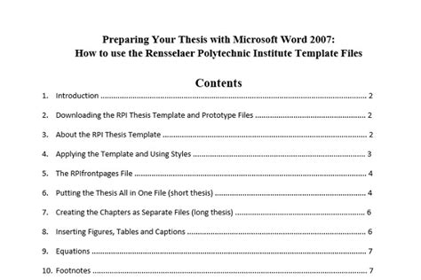 10 Best Table Of Contents Templates For Microsoft Word Apa Table Of Contents Template Word
