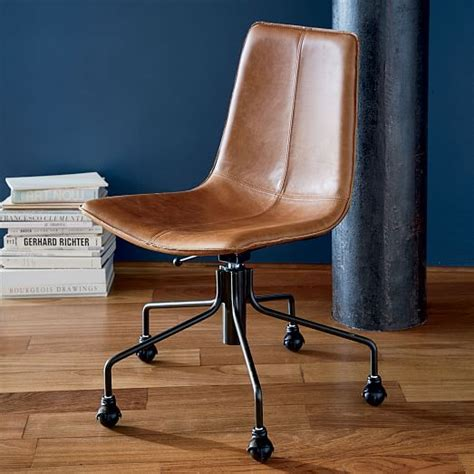 leather office desk chair slope leather swivel office chair west elm