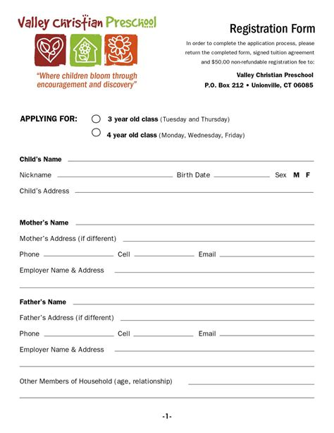 valley christian preschool download a registration form