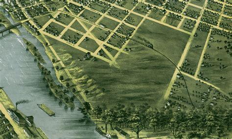 grand rapids michigan in 1868 bird s eye view map
