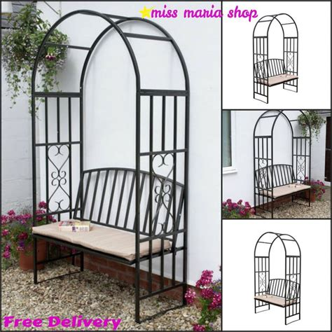 metal arbor with bench garden steel arbour bench cushion arch patio furniture
