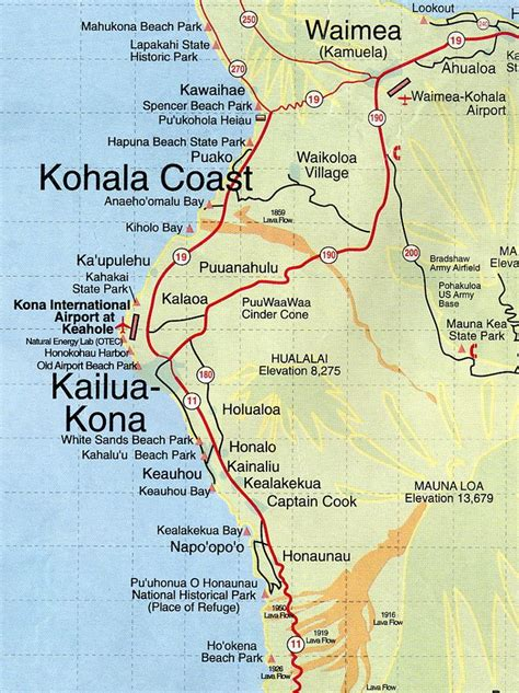 printable road map of big island hawaii kona hawaii map root maps map of kona coast hawaii my