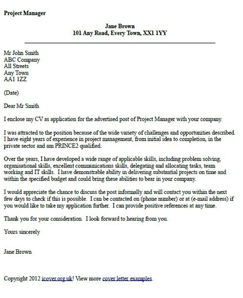 Project Manager Cover Letter Example ? icover.org.uk   UK