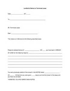 Lease Termination Notice Sle by Landlord S Notice To Terminate Lease Business Forms