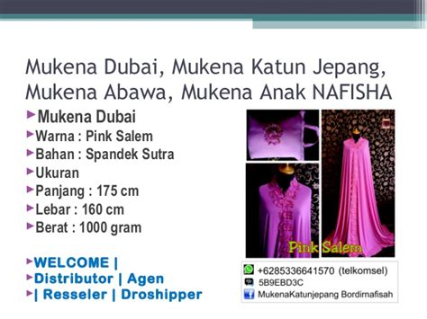 Muken Katun Jepang Non Glossy 085 3366 415 70 telkomsel grosir mukena murah