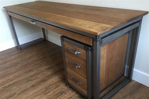 oak desk with drawers industrial desk with drawers oak steel ltd