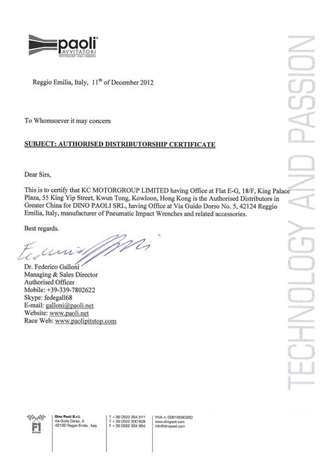Authorization Letter For Race Kit Collection Partner