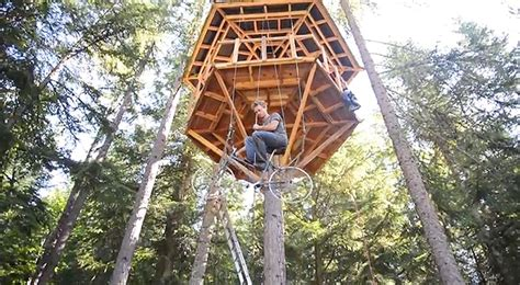 tree elevator pedal powered bicycle treehouse elevator takes you up in