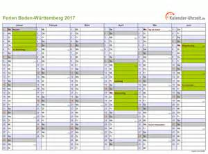 Kalender 2018 Schulferien Bw Ferien Baden W 252 Rttemberg 2017 Ferienkalender Zum Ausdrucken