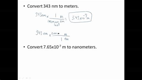 how to m meters nanometers conversions youtube