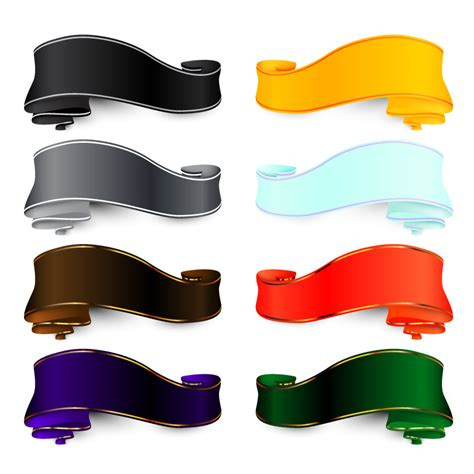 eight color ribbon design vector free vector graphic