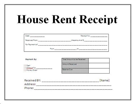 house rent receipt template doc 5 document receipt template budget template letter