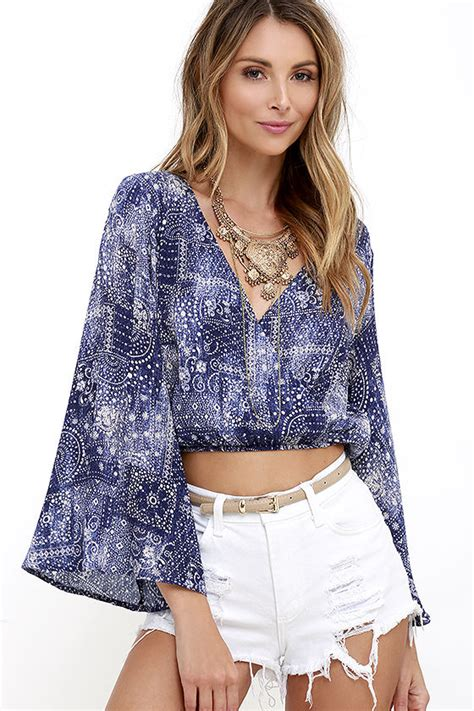 Blue Set Top Skirt Import boho crop top blue print top bell sleeve top