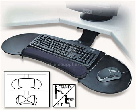 corner desk with keyboard tray kmw60044 articulating keyboard tray by kensington