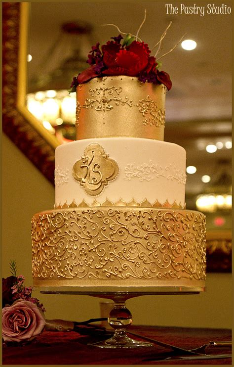 Wedding Cakes Daytona by Rich Golden Monogrammed Scrolled Wedding Cake By The