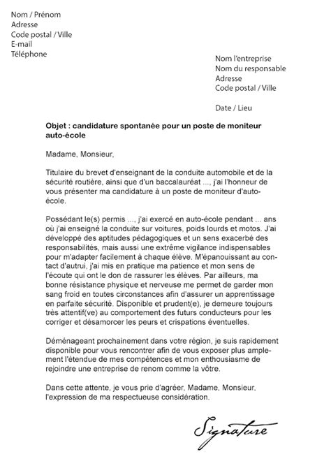 Lettre De Motivation Ecole Technique lettre de motivation moniteur auto 233 cole mod 232 le de lettre