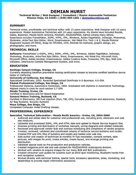resume exle for automotive mechanic writing a concise auto technician resume