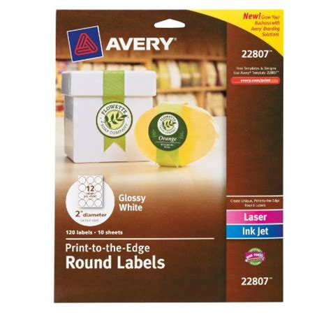 Avery Permanent Print To The Edge Round Labels Laser Inkjet 2 5 Inch Brown Kraft Pack Of 225 Avery Circle Labels 2 Inch Template