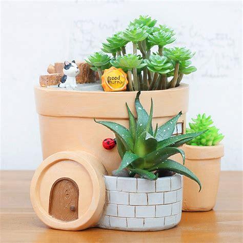 cute succulent pots cute cat and cabin succulent pots with drainage resin best