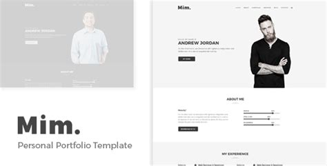 Mim Personal Portfolio Template By Regaltheme Themeforest Personal Portfolio Template