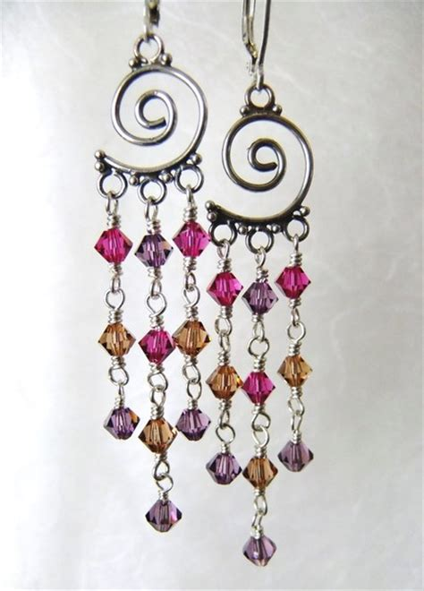 fuschia chandelier earrings swarovski purple fuschia topaz spiral sterling chandelier earrings jlynnjewels jewelry