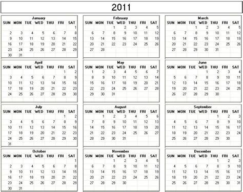 Calendar Of 2011 Calendar For 2011 Calendar