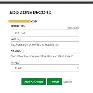 dzc txt record settings  godaddy ssl addon domain sans