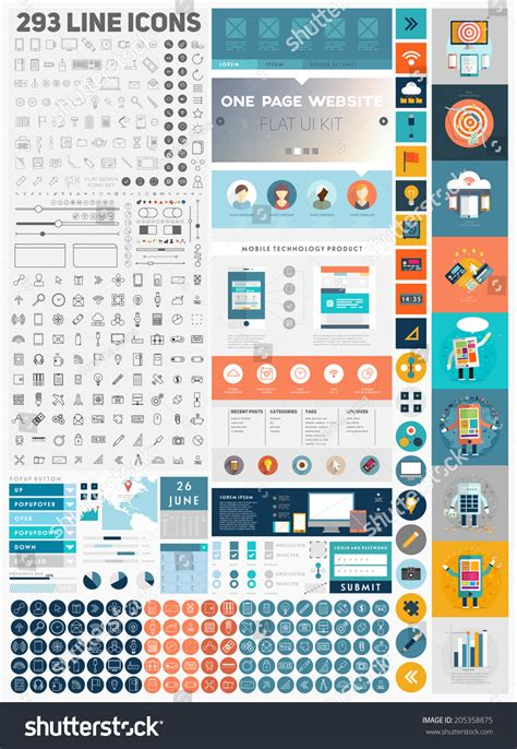 design ui elements one page website design template with ui elements kit and
