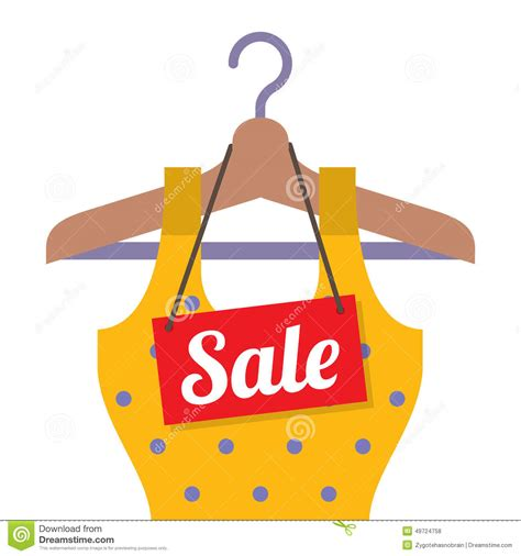 clothes on hanger with sale tag stock vector