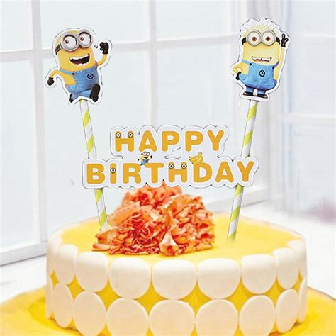 happy cake decorations aliexpress buy minions birthday cake topper