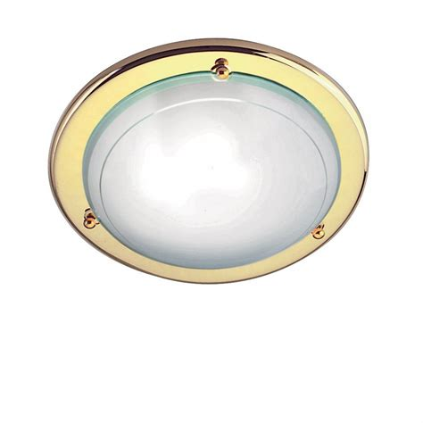 Electric Ceiling Lights Searchlight Electric Jupiter 702pb Polished Brass With Glass Shade Flush Ceiling Light