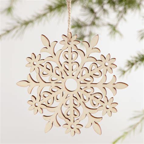 laser cut ornaments laser cut wood snowflake ornaments set of 4 world market