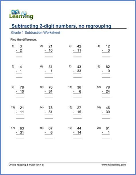 grade 1 math worksheet subtracting 2 digit numbers no
