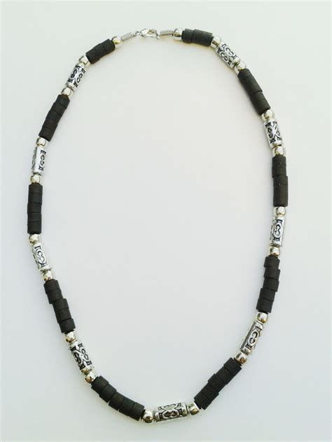beaded necklaces mens jamaica two tone chrome black surfer beaded choker