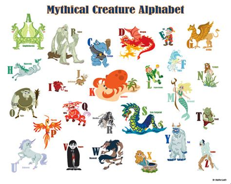 mythology the complete guide to gods goddesses monsters heroes and the best mythological tales books items similar to printable mythical creature alphabet