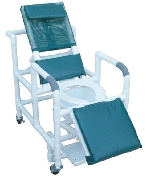 recliner toilet reclining shower commode chair with sliding footrest