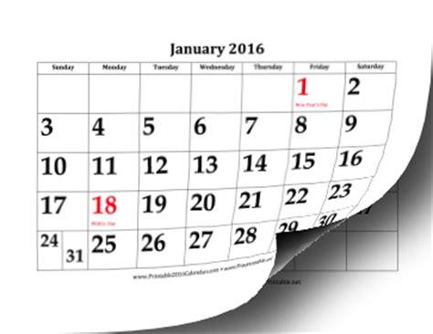 printable calendar 2016 large printable 2016 calendar with large dates