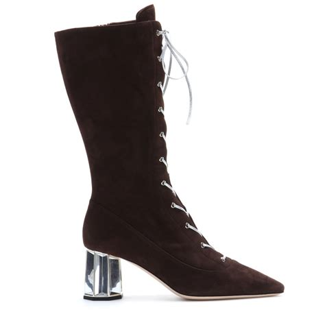 miu miu suede lace up boots in brown lyst
