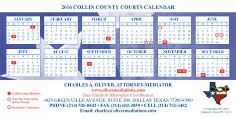 Collin County Court Search Charles Oliver Mediator 2016 Metroplex Court Calendars