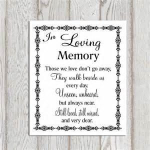 memory poem template in loving memory printable memorial table wedding memorial
