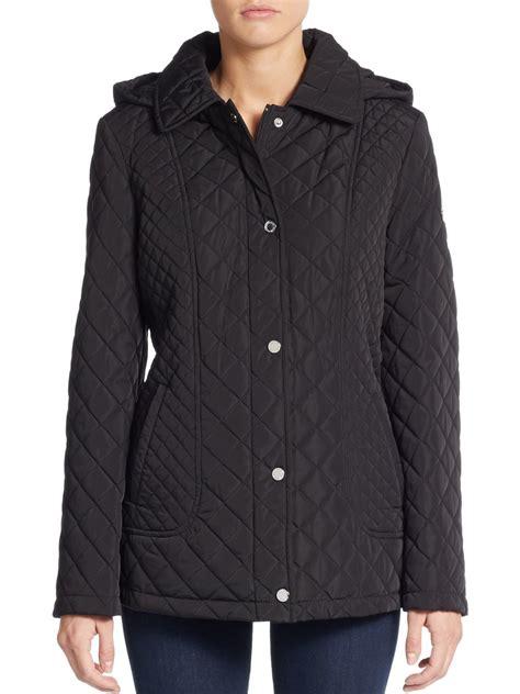 Jacket Calvin calvin klein quilted hooded jacket in black lyst
