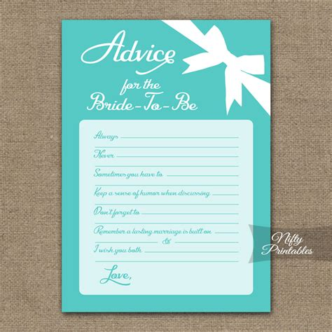 free bridal shower advice card template printable bridal shower advice cards blue